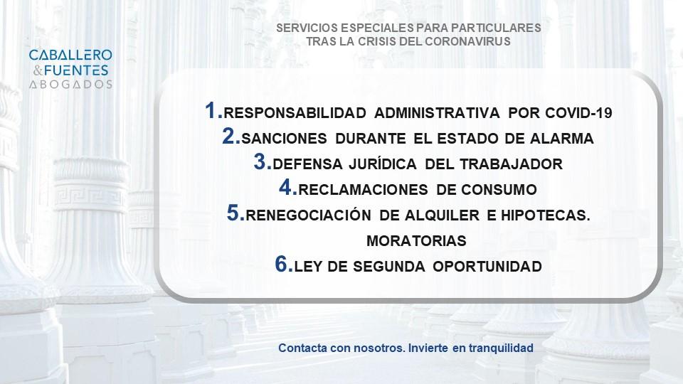 Servicios juridicos para las personas de adaptación al Coronavirus